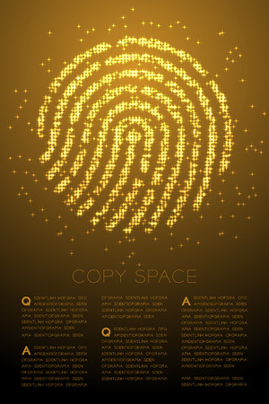 Fingerprint shape Particle Shiny Bokeh star pattern gold color illustration on brown gradient background with copy space, vector
