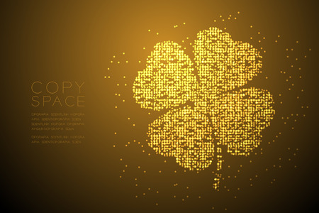 Clover 4 leaf shape Particle Geometric Bokeh circle dot pixel pattern gold color illustration on brown gradient background with copy space; vector
