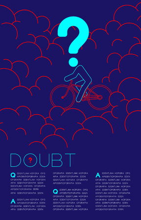 Doubt man and bicycle with Question mark icon pictogram blue and red, Social issues: Pollution PM 2.5 concept template layout design illustration isolated on dark blue background, with space