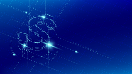 Currency USD (United States Dollars) isometric symbol particle line lighting pattern wireframe futuristic, Digital money cryptocurrency concept illustration isolated on blue gradients background Vettoriali