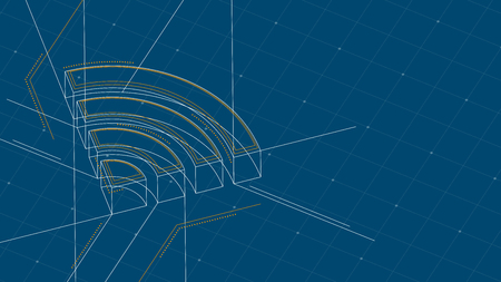 Wifi symbol isometric symbol dot and dash line frame structure pattern wireframe, Internet connect concept illustration isolated on blue background with space