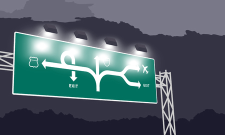 Highway or motorway green signage at nighttime illustration isolated on dark sky background