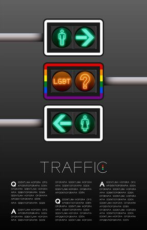 LED Traffic Light with gender sign, Sexuality diversity; LGBT problem concept poster or flyer template layout design illustration isolated on grey gradients background with copy space, vector Stock Illustratie