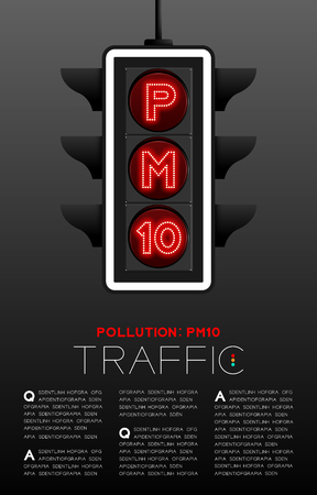 LED Traffic Light with PM 10 text, Pollution dust concept poster or flyer template layout design illustration isolated on grey gradients background with copy space, vector eps 10