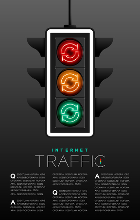 LED Traffic Light with Refresh sign icon, Data technology concept poster or flyer template layout design illustration isolated on grey gradients background with copy space, vector eps 10