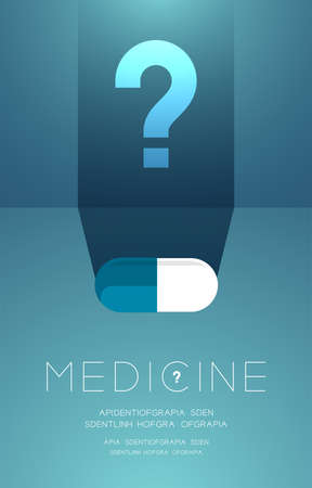Medicine tablet with shadow and Question mark sign, Doubt problem concept idea poster or flyer template layout design illustration isolated on green gradients background with copy space, vector Ilustração