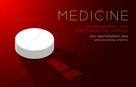 Medicine pill capsule with shadow and Exclamation mark sign, Warning problem concept idea poster or flyer template layout design illustration isolated on green gradients background with space, vector