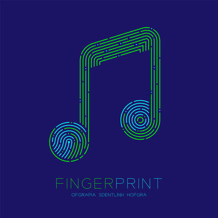 Music note sign pattern Fingerprint scan logo icon dash line, Musician concept, Editable stroke illustration blue and green isolated on blue background with Fingerprint text and space, vector