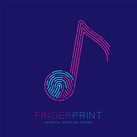 Music note sign pattern Fingerprint scan logo icon dash line, Musician concept, Editable stroke illustration blue and pink isolated on blue background with Fingerprint text and space, vector Ilustração