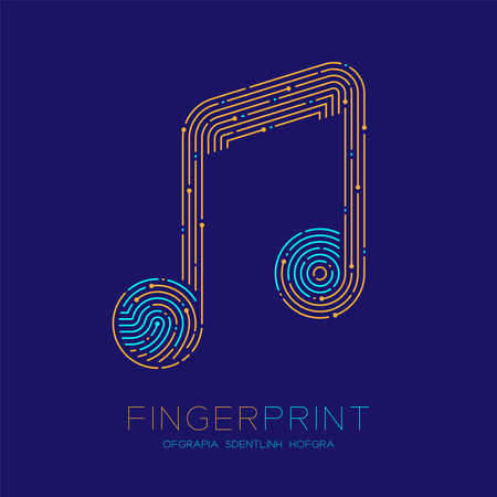 Music note sign pattern Fingerprint scan logo icon dash line, Musician concept, Editable stroke illustration blue and orange isolated on blue background with Fingerprint text and space, vector Banco de Imagens - 151464228