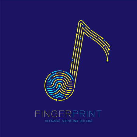 Music note sign pattern Fingerprint scan logo icon dash line, Musician concept, Editable stroke illustration blue and yellow isolated on blue background with Fingerprint text and space, vector