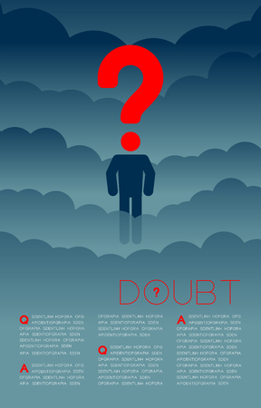 Doubt man with Question mark icon pictogram blue and red, Social issues: Pollution PM 2.5 concept template layout design illustration isolated on dark gradients background, with copy space