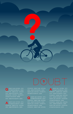 Doubt man and bicycle with Question mark icon pictogram blue and red, Social issues: Pollution PM 2.5 concept template layout design illustration isolated on dark gradients background, with space