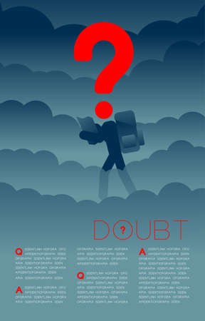 Doubt man traveler with Question mark icon pictogram blue and red, Social issues: Pollution PM 2.5 concept template layout design illustration isolated on dark gradients background, with space Ilustração