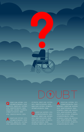 Doubt disabled man with Question mark icon pictogram blue and red, Social issues: Pollution PM 2.5 concept template layout design illustration isolated on dark gradients background, with copy space  イラスト・ベクター素材