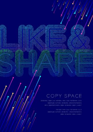 Like and Share big text dot and dash line pattern layer overlay, Poster banner or flyer template layout design illustration isolated on blue background with copy space, vector eps10