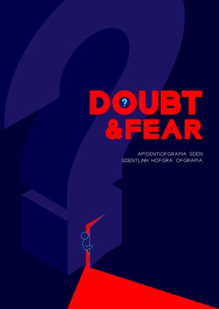 Man pictogram open the isometric question mark door to dark room, Doubt and Fear Psychology problem concept poster and banner design illustration isolated on blue background, with space