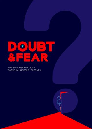 Man pictogram open the question mark door to dark room, Doubt and Fear Psychology problem concept poster and banner design illustration isolated on blue background, with space