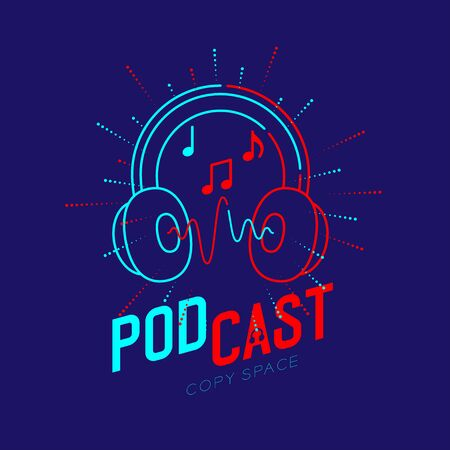 Headphone logo icon outline stroke with music note in radius frame dash line, Podcast internet radio program online concept illustration isolated on blue background with PODCAST text, vector