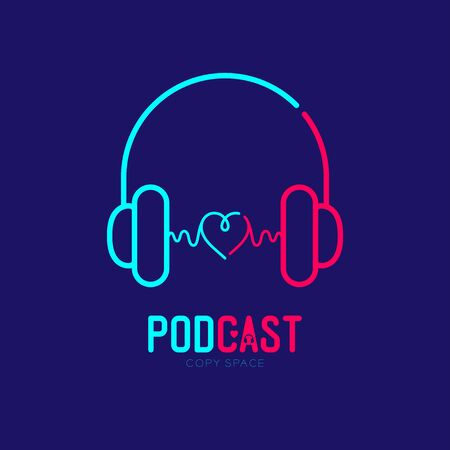 Headphone logo icon outline stroke with heart love symbol dash line design, Podcast internet radio program online concept illustration isolated on dark blue background with PODCAST text, vector 向量圖像