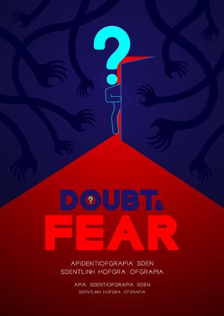 Man pictogram and question mark open the door to dark room with shadow hand, Doubt and Fear Psychology problem concept poster and banner design illustration isolated on blue background, with space Vecteurs