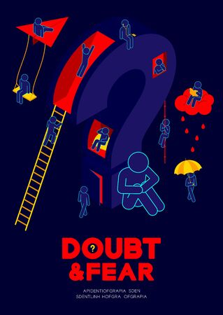 Man pictogram sitting with isometric question mark, people leisure and relaxing activities, Doubt and Fear Psychology social problem concept poster and banner design illustration on blue background