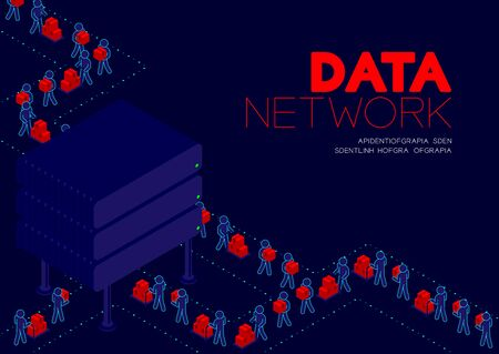 Data network concept, man pictogram transfer data to isometric Storage hard disk illustration poster and banner design isolated on blue background, with copy space