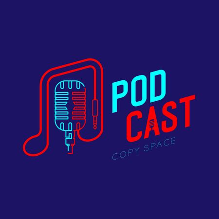 Retro Microphone logo icon outline stroke with music note cable dash line design, podcast internet radio program concept illustration isolated on dark blue background with PODCAST text, vector