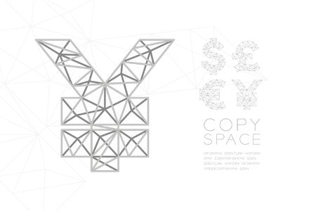 Currency USD JPY (Japanese Yen) symbol wireframe Polygon silver frame structure, Business finance concept design illustration isolated on white gradient background with copy space, vector eps 10