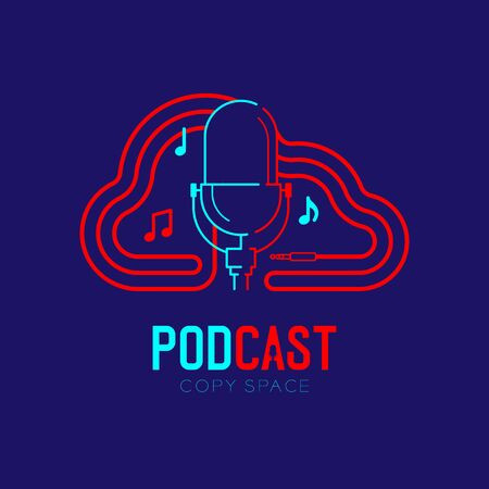 Retro Microphone logo icon outline stroke with Cloud shape frame cable dash line design, podcast internet radio program concept illustration isolated on dark blue background with PODCAST text, vector Ilustrace