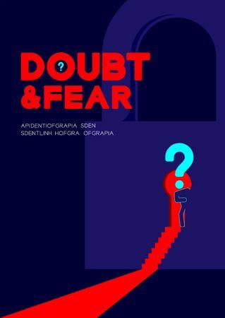 Le pictogramme de l'homme et le point d'interrogation ouvrent la porte du trou de serrure de la serrure vers la pièce sombre, l'affiche du concept de problème de confidentialité de la psychologie du doute et de la peur et l'illustration de la conception de la bannière sur fond bleu, avec espace