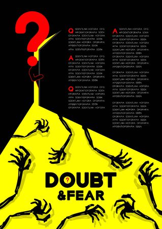 Man pictogram and question mark open the door to dark room with shadow skeleton hand, Doubt and Fear Psychology problem concept poster and banner design illustration on blue background, with space
