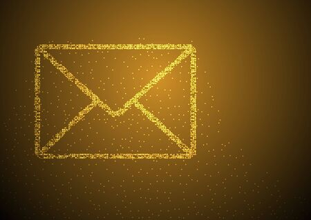 Email symbol shape Particle Geometric Bokeh circle dot pixel pattern, You got mail concept design gold color illustration on brown gradients background with space, vector eps Illustration