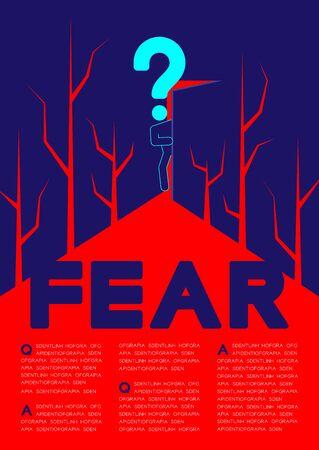 Le pictogramme de l'homme et le point d'interrogation ouvrent la porte à la pièce sombre avec un motif de fissure, une affiche de concept de problème de psychologie du doute et de la peur et une illustration de conception de bannière isolée sur fond bleu, avec espace Vecteurs