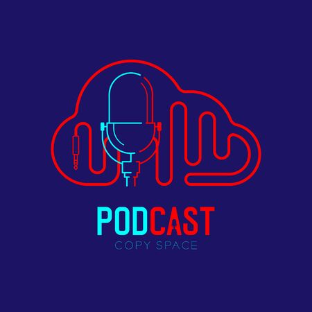 Retro Microphone logo icon outline stroke with Cloud shape frame cable dash line design, podcast internet radio program concept illustration isolated on dark blue background with PODCAST text, vector Illustration