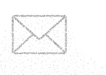 Email symbol shape Particle Geometric Square box pixel pattern, You got mail concept design black color illustration on white background with space, vector eps