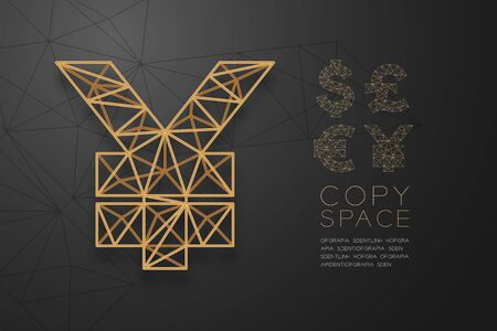 Currency USD JPY (Japanese Yen) symbol wireframe Polygon golden frame structure, Business finance concept design illustration isolated on black gradient background with copy space, vector eps 10