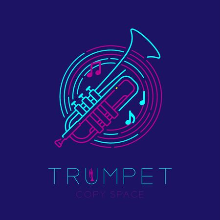 Trumpet, music note with line staff circle shape icon outline stroke set dash line design illustration isolated on dark blue background with saxophone text and copy space Illustration