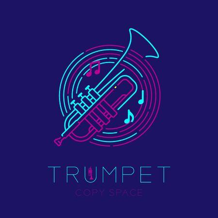 Trompette, note de musique avec l'icône de la forme du cercle du personnel de la ligne contour de l'icône de la ligne de tiret illustration de conception isolée sur fond bleu foncé avec texte de saxophone et espace de copie