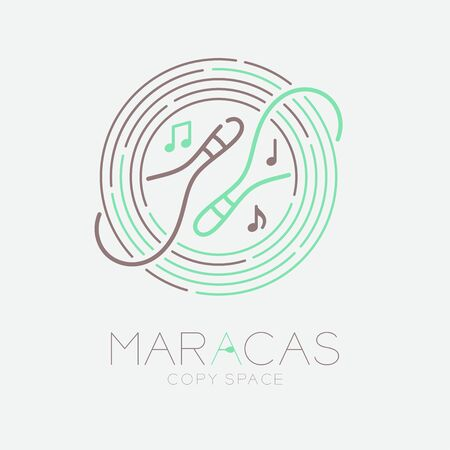 Maracas, music note with line staff circle shape icon outline stroke set dash line design illustration isolated on grey background with saxophone text and copy space Illustration