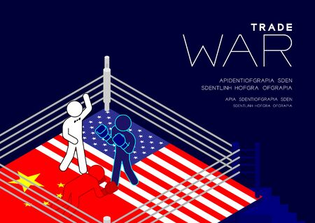 Boxer Man pictogram on boxing ring isometric with america and china flag canvas pattern, Trade war and tax crisis concept design illustration isolated on blue background with space, vector eps 10