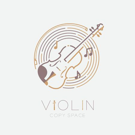 Violin, bow, music note with line staff circle shape icon outline stroke set dash line design illustration isolated on grey background with violin text and copy space