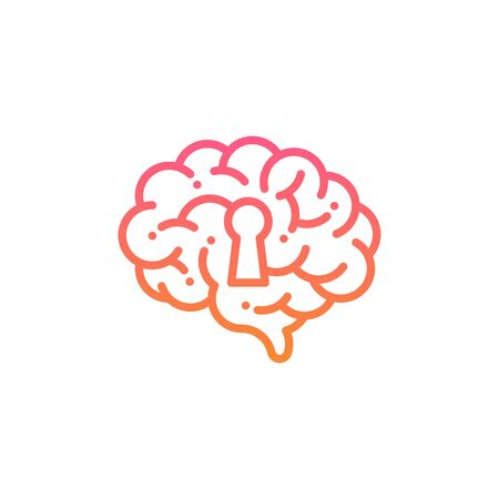 Side Brain  icon with keyhole symbol, Secrets of the mind concept design illustration pink and orange gradients color isolated on white background with copy space, vector eps 10