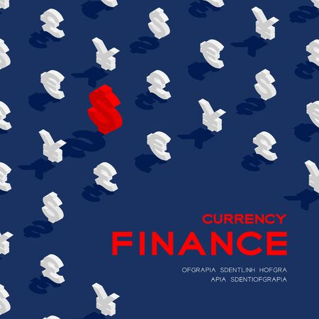 Currency sign dollar, pound sterling, euro, and japanese yen or chinese yuan sign 3d isometric pattern, Business finance concept poster and banner design illustration on blue background with space