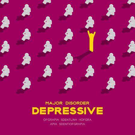 Dépression (trouble dépressif majeur, MDD) homme pictogramme 3d modèle isométrique, affiche de concept de maladie médicale et illustration de conception carrée bannière isolé sur fond violet avec espace, vecteur