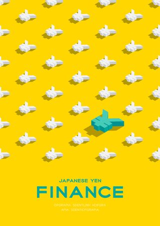 Currency japanese yen (JPY) sign 3d isometric pattern, Business finance concept poster and banner vertical design illustration isolated on yellow background with copy space, vector eps 10 向量圖像