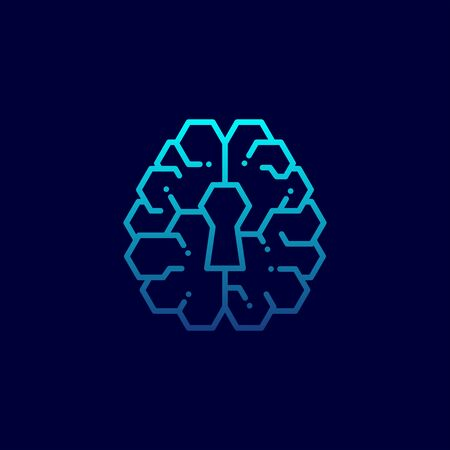 Top Brain icon with keyhole symbol, Secrets of the mind concept design illustration blue gradients color isolated on dark blue background with copy space, vector eps 10 Vettoriali