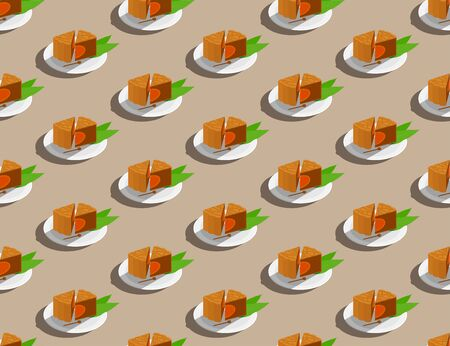 Chinese Mooncake slice on plate 3D isometric seamless pattern, Mid-autumn Moon festival concept poster and banner design illustration isolated on beige background, vector Illustration
