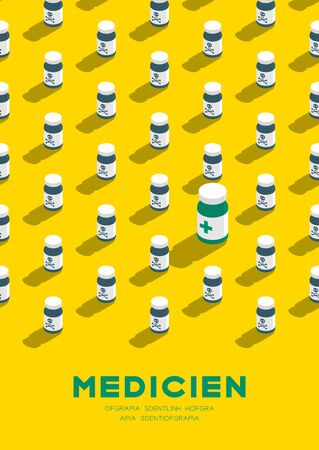 Medicine bottle 3D isometric pattern, Danger expired concept poster and banner vertical design illustration isolated on yellow background with copy space, vector