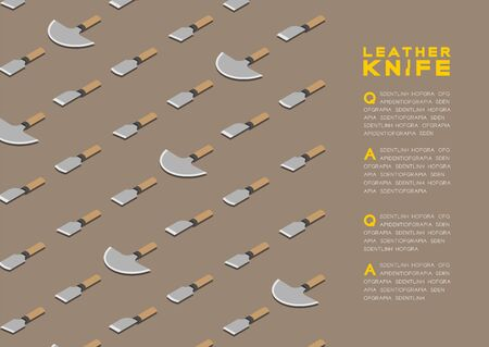 Japanese leather knives 3D isometric pattern, Craft knife concept poster and banner horizontal design illustration isolated on beige background with copy space, vector eps 10